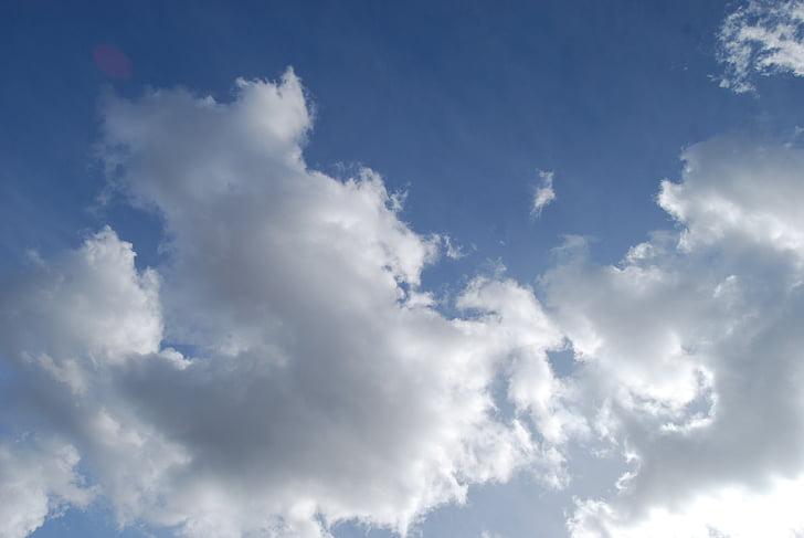 nebo, oblaci, dan, plava, plavo nebo, priroda, kumulus