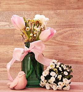 tulipes, Ranunculus, ocell, Gerro, flors, Gerro, flors de primavera