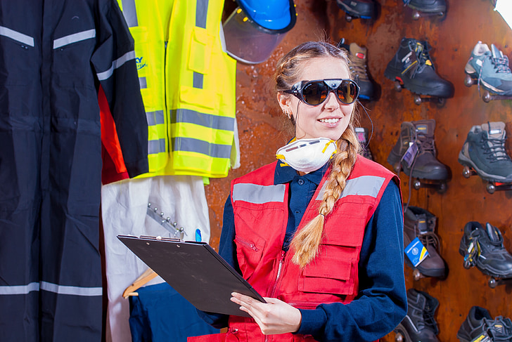 industrial, seguretat, logística, roba de treball, Seguretat Industrial, ulleres protectores, armilla