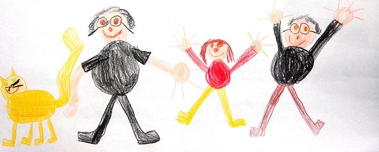 famille, dessin, enfants, chat, papier, croquis, crayon de couleur
