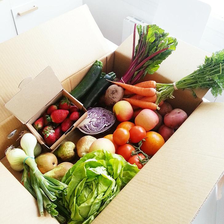 dārzeņi, augļi, tomāti, dārzenis, burkāni, zemenes, sīpoli