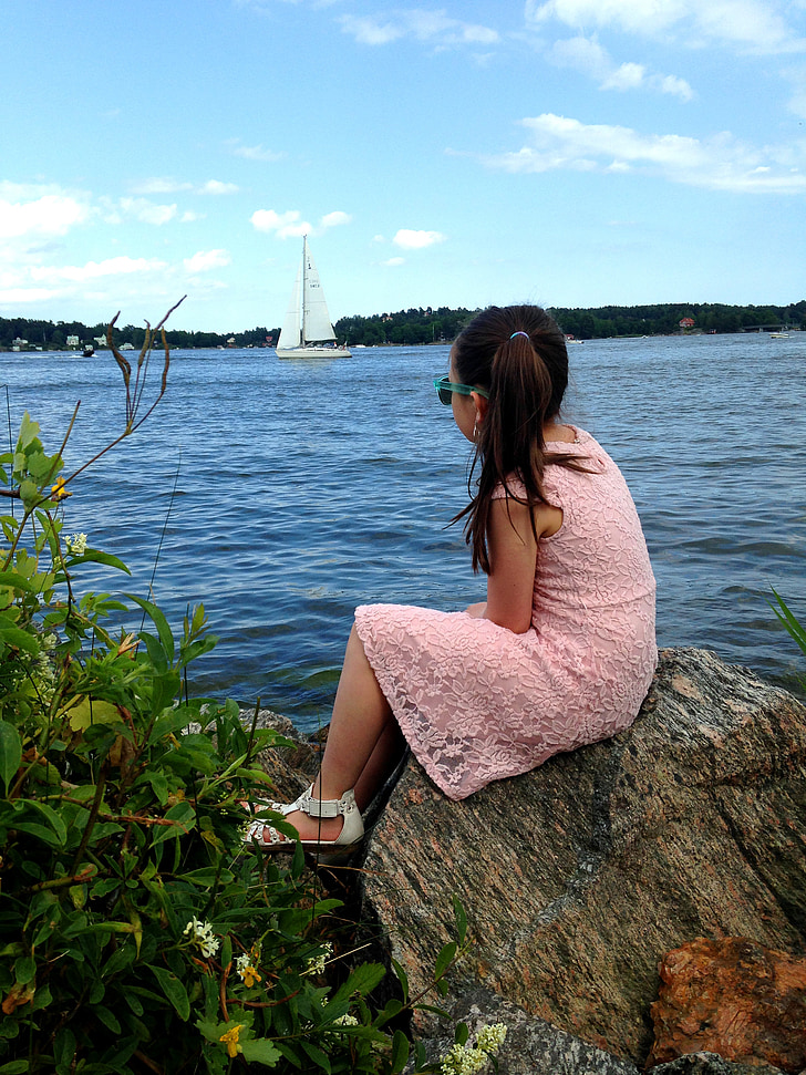 sailboat, philosophize, archipelago, girl