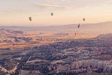 luftballong, Turkiet, antenn, styrbara, luft, landskap, öken