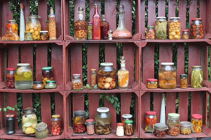 condimente, borcane, dulap, sertar, lemn, preparate, muraturi