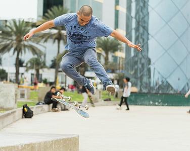 človek, flip, letev, skateboard, rolkar, skok, triki