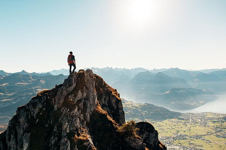 nuotrauka, didelis, kalnai, žygiai pėsčiomis, Trekas, Nuotykių, vaikinas