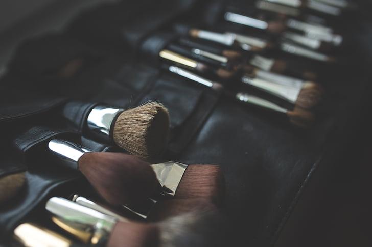 brosse, pinceaux, composent, maquillage, maquillage, mode, produit de beauté