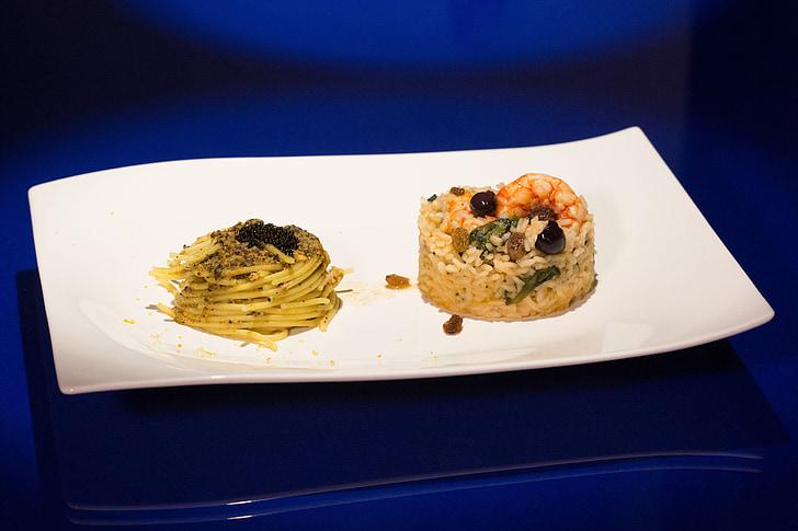 primer, plat, Espaguetis, arròs, pastes, gambes, caviar