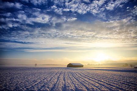 landscape, nature, sun, sky, clouds, hut, winter