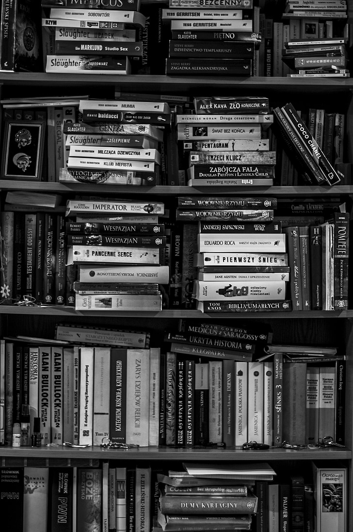 books, bookshelf, library, black and white, school, education, information