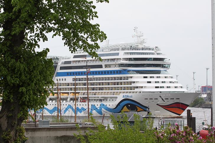 Hamburg, Elbe, hamn, hafengeburtstag, Landungsbrücken, båtar, fartyg
