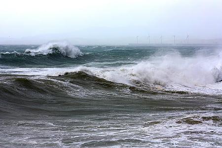 바다, 쓰레기, 파도, 물, 바다, 웨이브, 폭풍