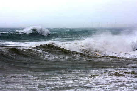 sea, scum, waves, water, ocean, wave, storm