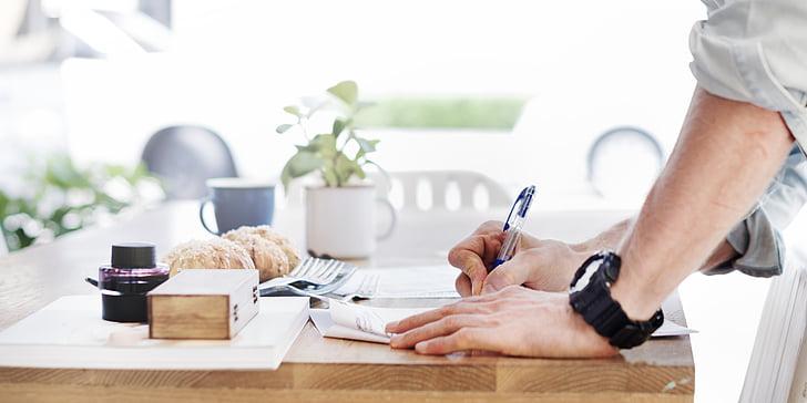 adulto, negocios, escritorio, documento, manos, en el interior, luz