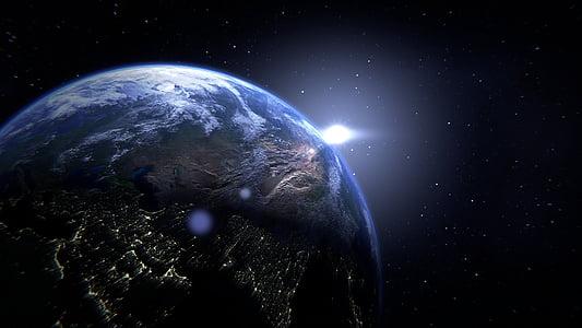 planeta, terra, globus, espai, món, continents, blau