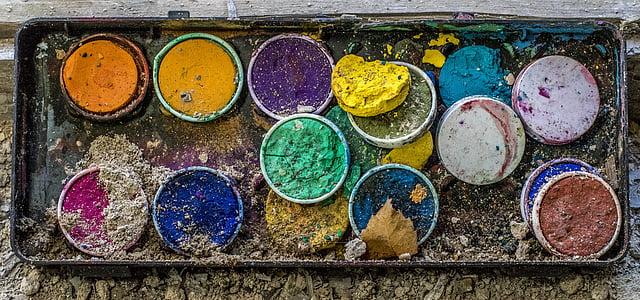 malkasten, Värv, akvarell, värvi, mitme värviline, järjest, muudatuse