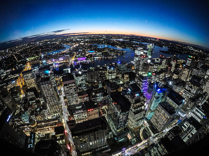 architecture, bird's eye view, buildings, city, cityscape, downtown, illuminated