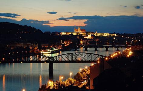 prague, evening, sunset, vltava, the lights of the city, bridge, river