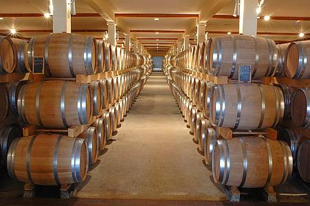 alkohol, fat, källare, behållare, inomhus, förvaring, Winery