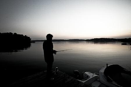 boat, fisherman, fishing rod, lake, person, recreation, river