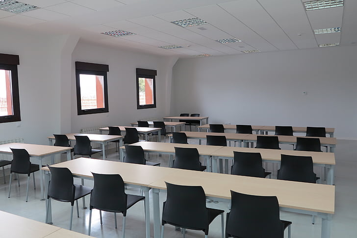 classroom, training, tables, chairs, teaching, office, learning