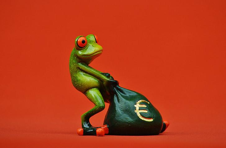 frog, money, euro, bag, money bag, funny, cute