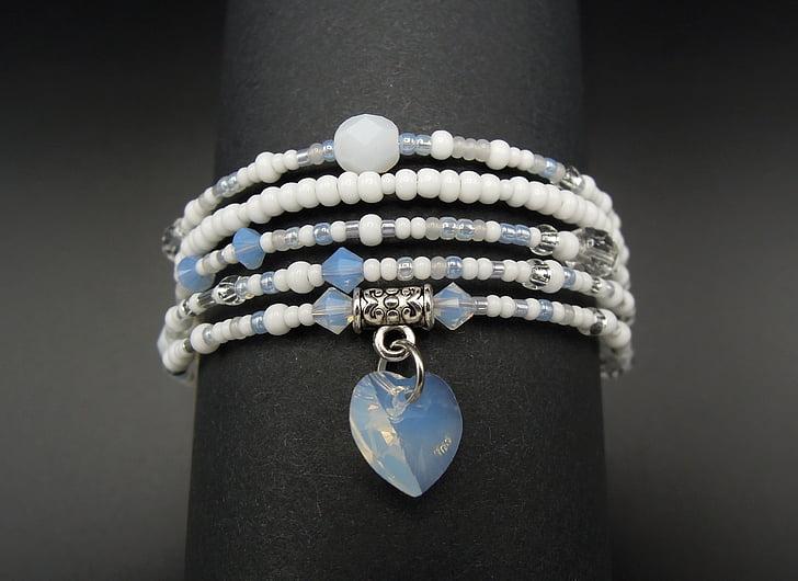 smykker, armbånd, perler, hvit, hjerte, mote