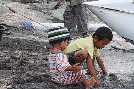 bali, indonesia, amed, beach, children, fishing boats