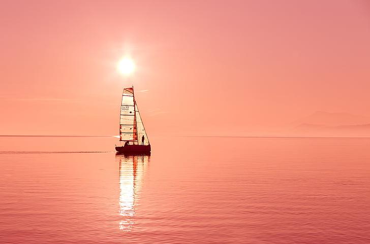 cos, l'aigua, vaixell, posta de sol, sailbot, vela, capvespre