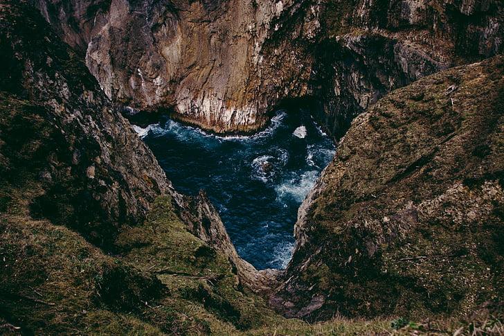 Lago, Primavera, água, pedras, caverna, natureza, mar