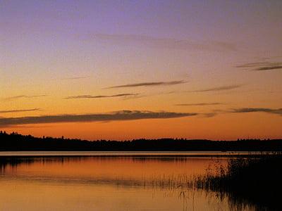 호수, 스웨덴, 저녁, abendstimmung, 잔 광, 자연, 외로움