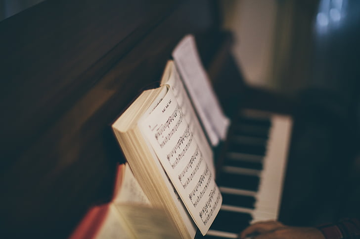 selective, focus, photography, black, spinet, piano, music