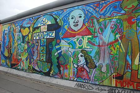 a berlini fal, Berlin, Art, Németország, Street art, graffiti