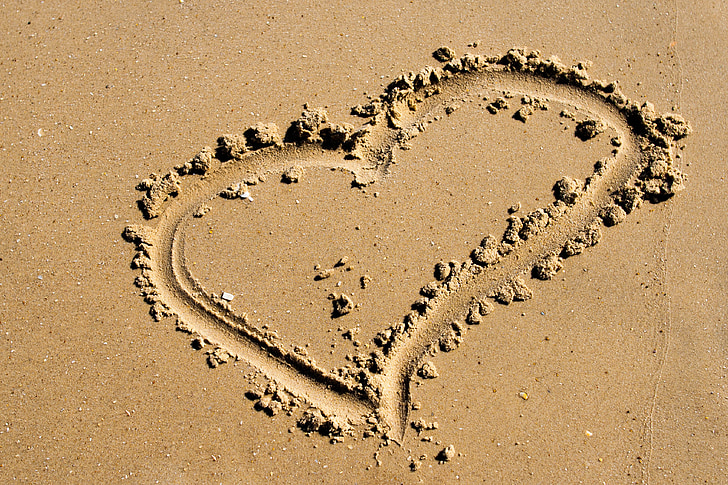 beach, love, heart, romantic, valentine, romance
