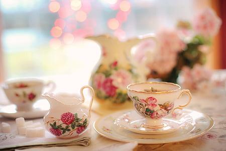 tee, teeõhtu, roosa, pool, teekann, pärastlõunal, pidu