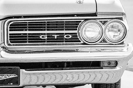 muscle car, headlights, bumper, sepia, black and white, black, white