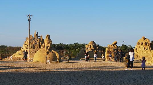 burgas, bulgaria, sand, castle, avengers, from sand, sculpture
