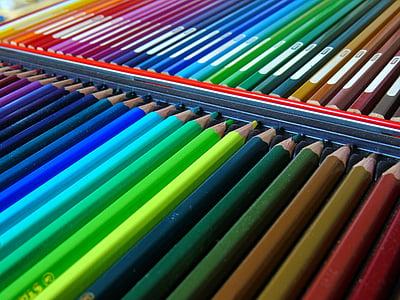 värvilised pliiatsid, pliiatsid, akvarell pliiatsid, värvi, kooli, Värviline, Joonista