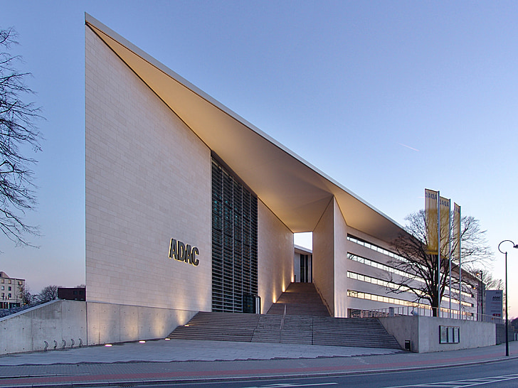 moderna, arquitectura, edifici d'oficines, edifici, geomètriques, il·luminació, Dortmund