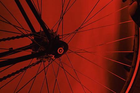 velosipēds, velosipēdu, rats, riepa, ierunājās, ķēde, sarkana