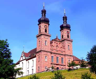 barokowy kościół, Glottertal, St peter, Benedyktyni, czerwony, niebo, niebieski