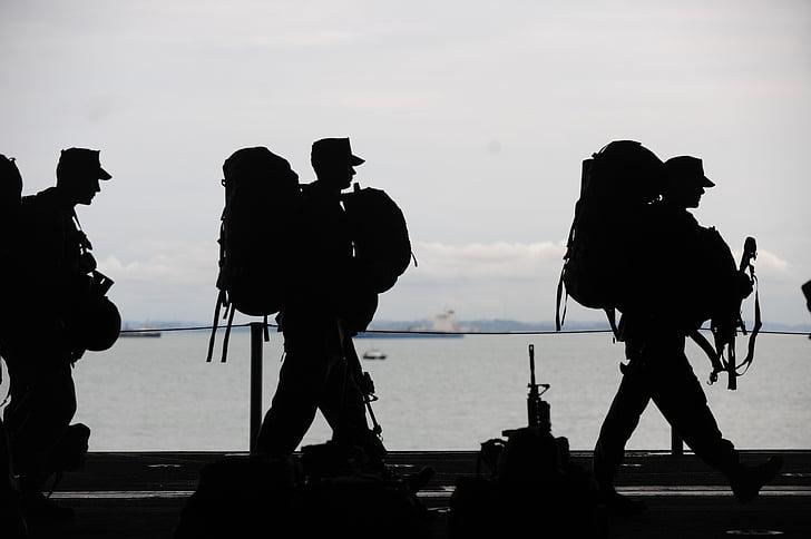 vojáci, odlétající, Služba, jednotný, sady, ozbrojené síly, lidé