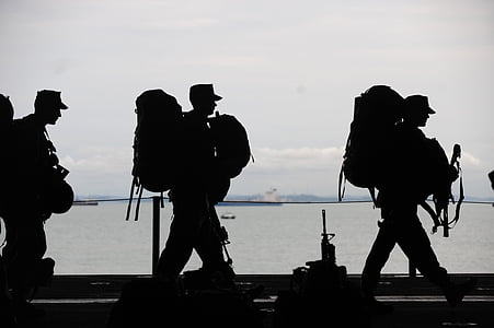 military men, departing, service, uniform, packs, armed forces, people