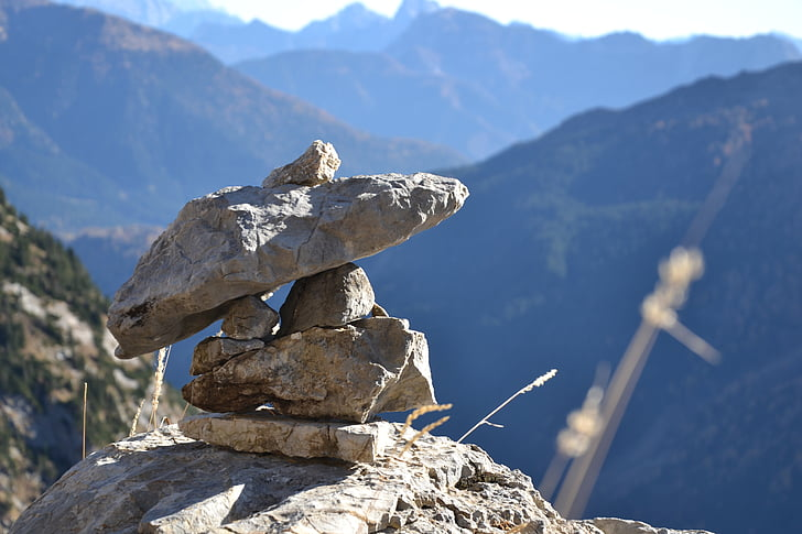 stones, cairn, hiking, nature, view, stacked, balance