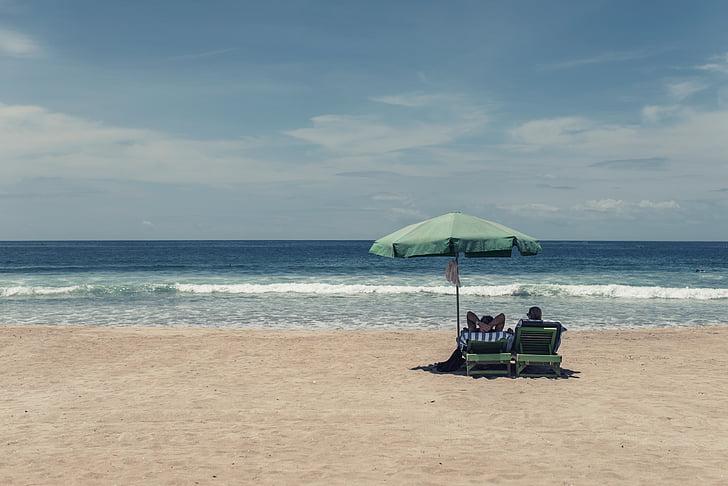 relaxació, gent de platja, platja, persones, oceà, l'estiu, vacances