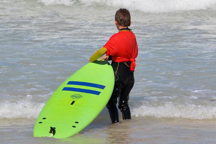 nen, persones, noi, navegar per, taula de surf, repte, esports