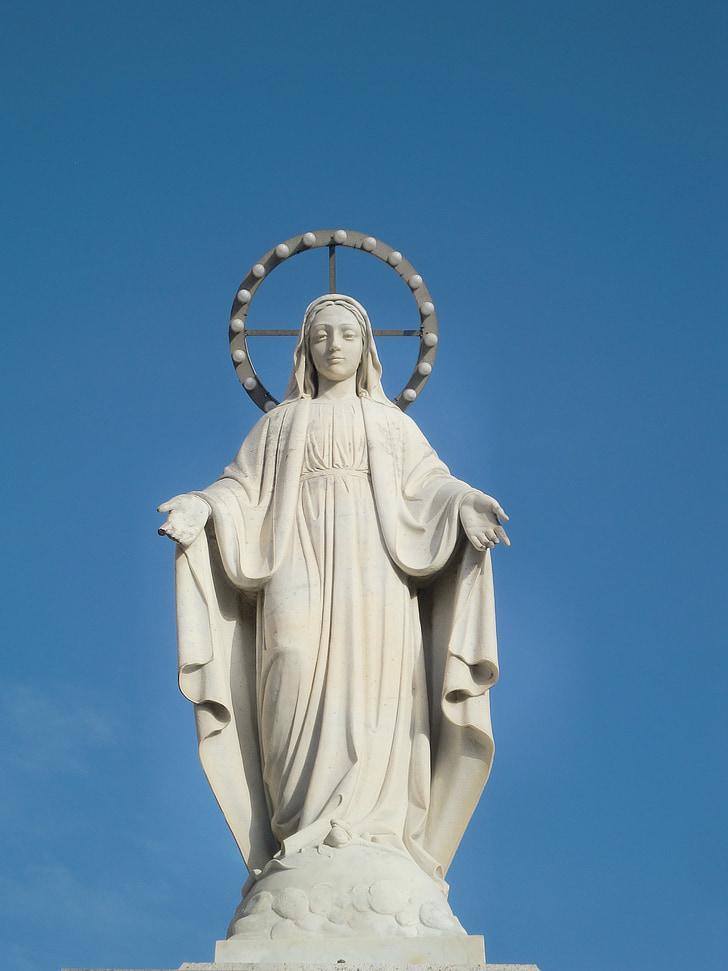동상, 마리아, 하얀, 헤일로, 스카이, 거룩한, 마돈나