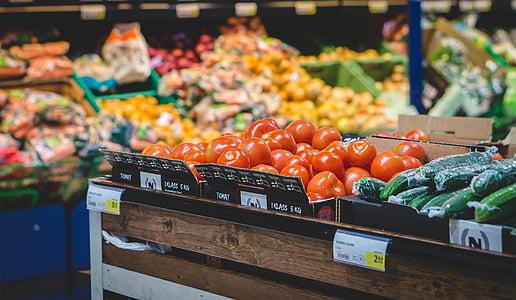 食料品店, スーパー マーケット, 野菜, ショップ, トマト, フルーツ, ストア