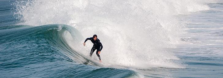 surfista, surf, oceà, l'estiu, vestit de neoprè, navegar per, ones