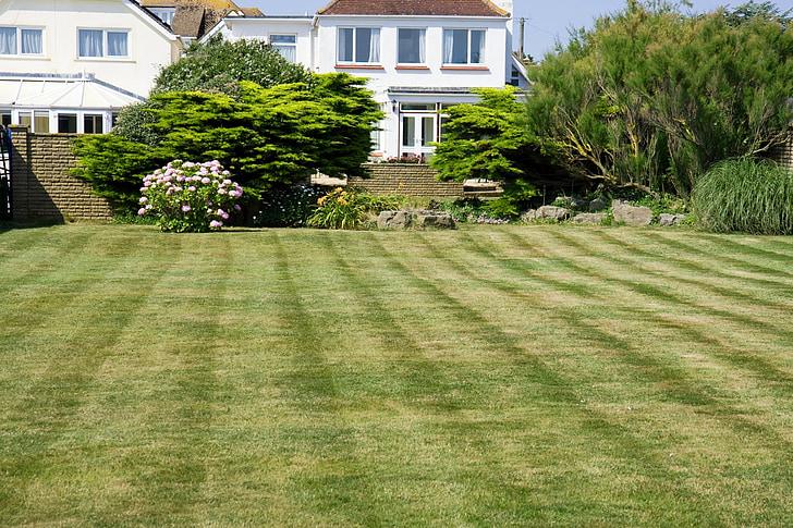 tráva, trávnik, Zelená, kosiť, posekane, pruhy, Záhrada